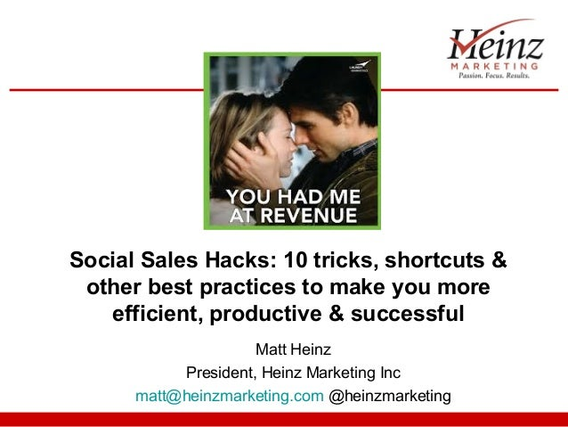 Social Sales Hacks: 10 tricks, shortcuts & other best practices to make you more efficient, productive & successful
