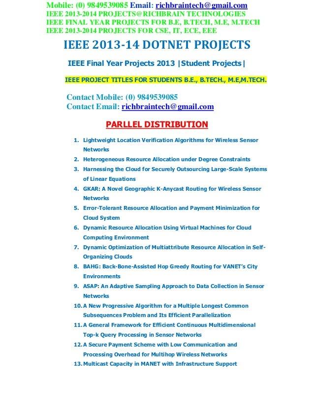2013 2014 ieee dotnet project titles richbraintechnologies
