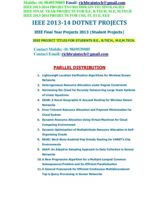 2013 2014 ieee final year  dotnet project titles