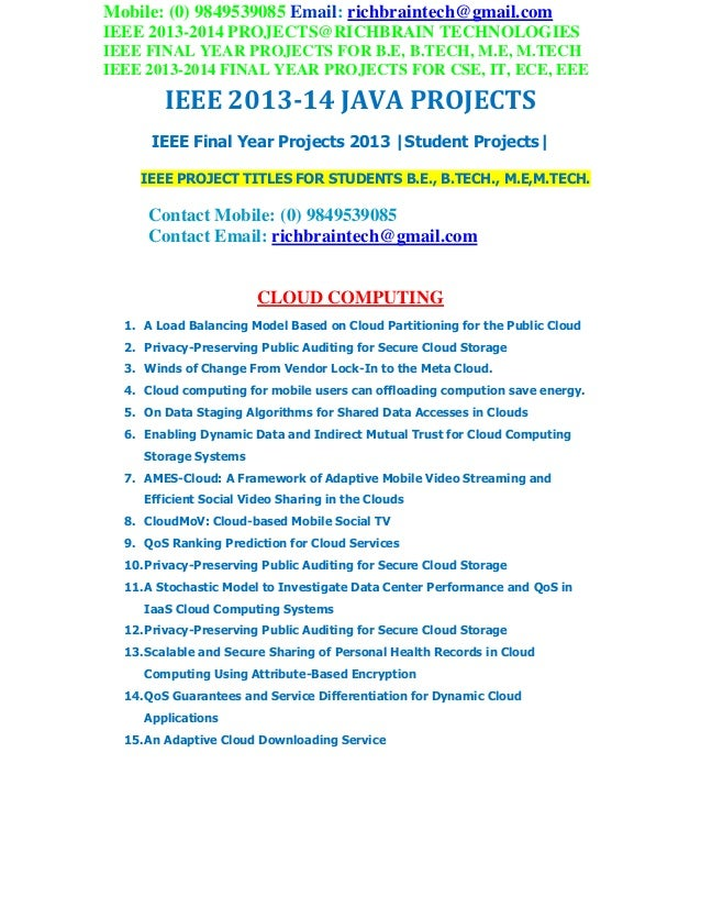 2013 2014 ieee final year students mca java projects richbrain technologies