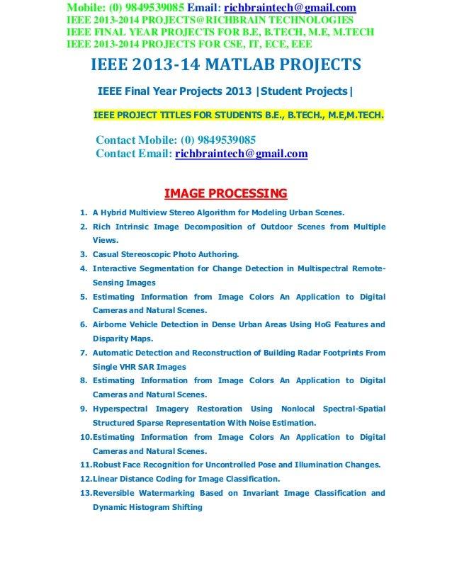2013 2014 ieee me mtech matlab projects richbraintechnologies