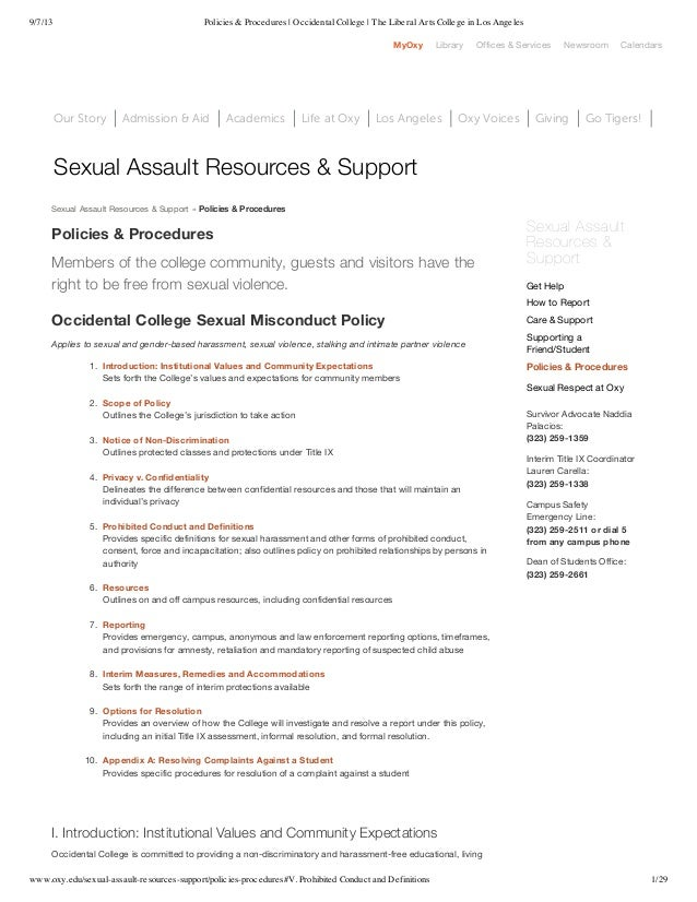 9/7/13 Policies & Procedures | Occidental College | The Liberal Arts College in Los Angeles www.oxy.edu/sexual-assault-res...