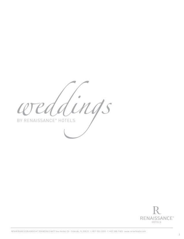 2013 Wedding Menu Renaissance Orlando at Sea World