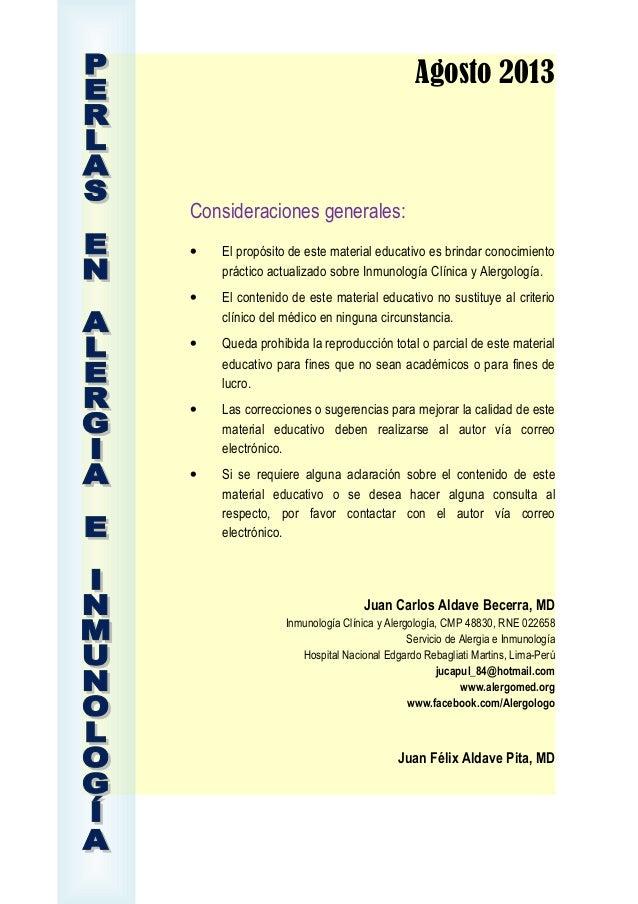 2013 agosto - Perlas en Alergia e Inmunología