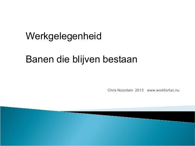 Chris Noordam 2013 www.workforfun.nu Werkgelegenheid Banen die blijven bestaan