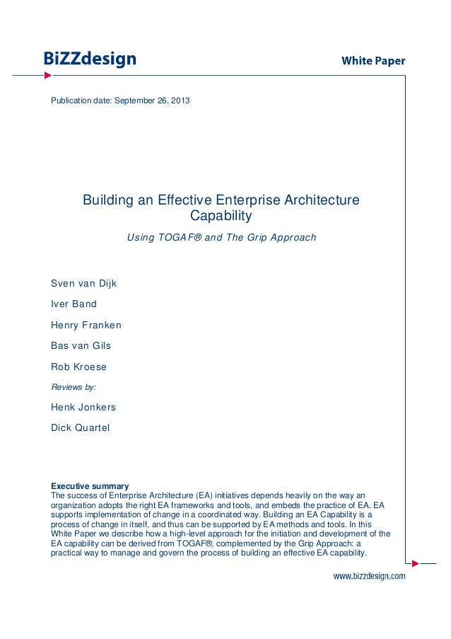 Building an Effective Enterprise Architecture Capability Using TOGAF and the GRIP Approach