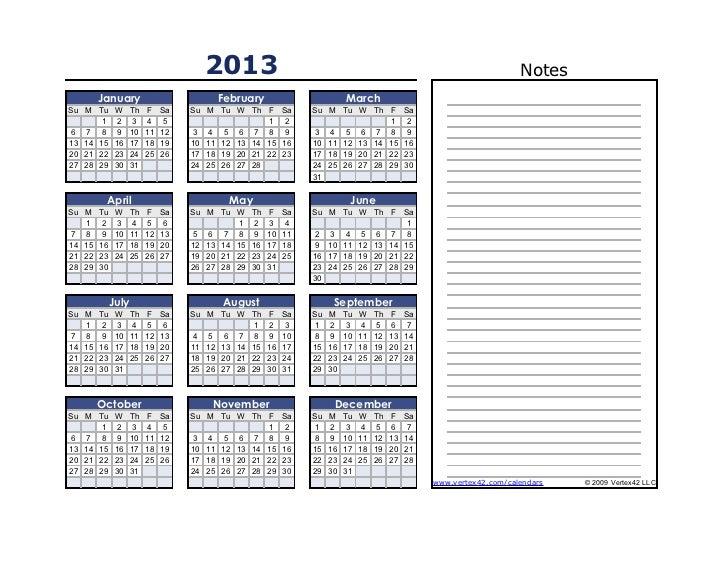 2013                                                                              Notes        January                    ...