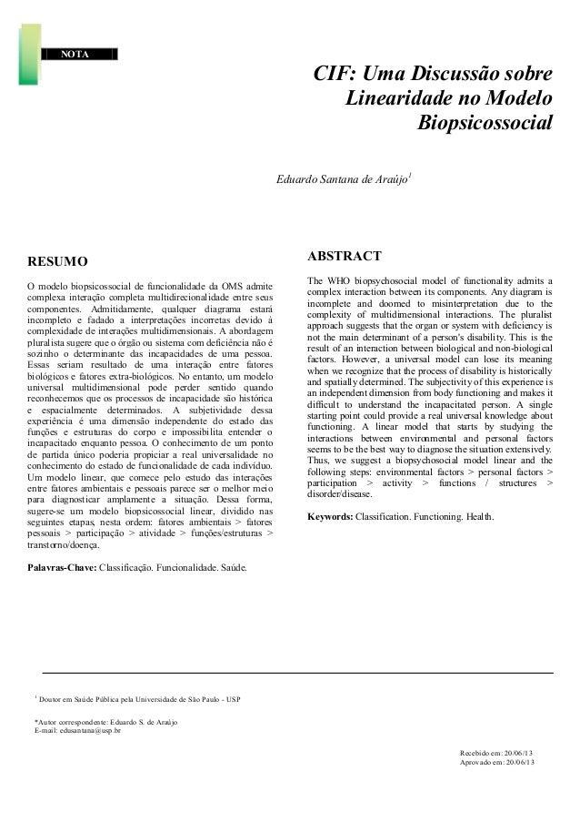 NOTA CIF: Uma Discussão sobre Linearidade no Modelo Biopsicossocial Eduardo Santana de Araújo1 RESUMO O modelo biopsicosso...