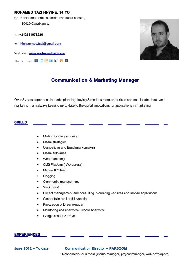 cv for marketing executive