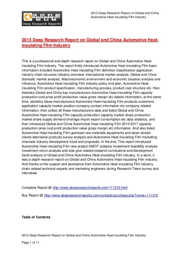 2013 Deep Research Report on Global and China Automotive Heat-insulating Film Industry  2013 Deep Research Report on Globa...