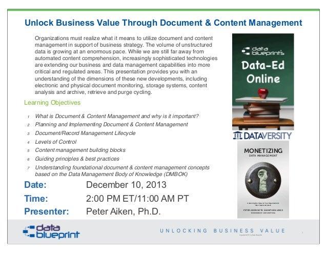 Data-Ed: Unlock Business Value through Document & Content Management