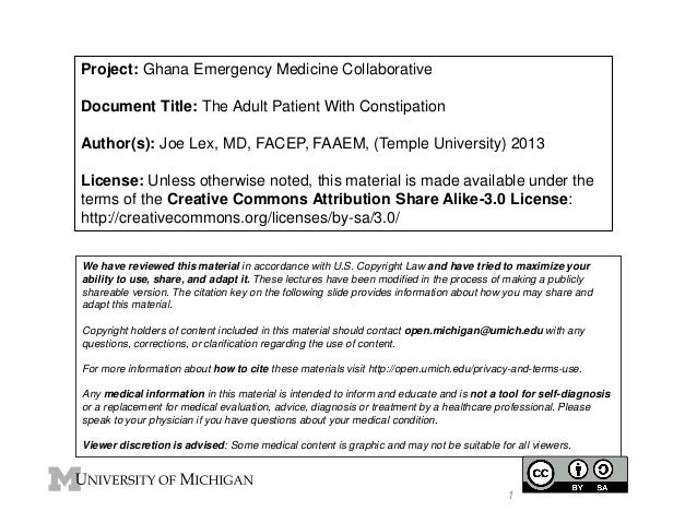 Project: Ghana Emergency Medicine Collaborative Document Title: The Adult Patient With Constipation Author(s): Joe Lex, MD...