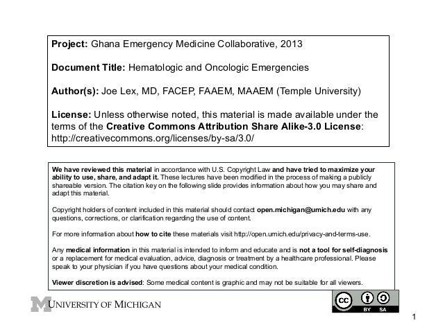 GEMC: Hematologic and Oncologic Emergencies: Resident Training