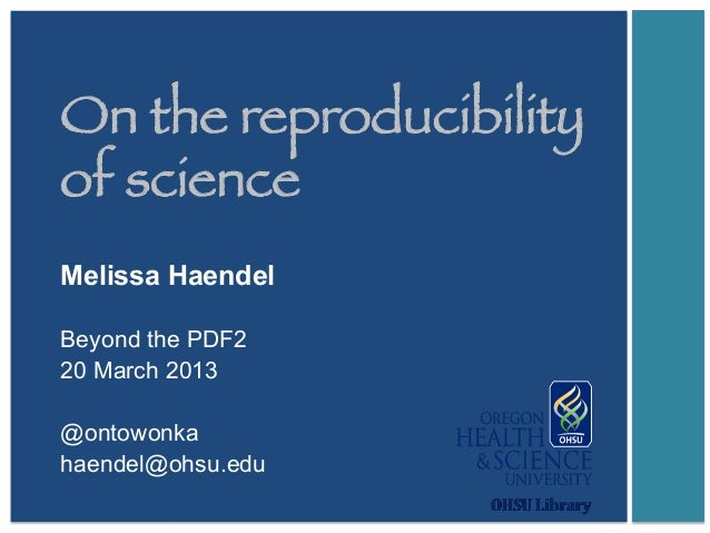 On the Reproducibility of Science