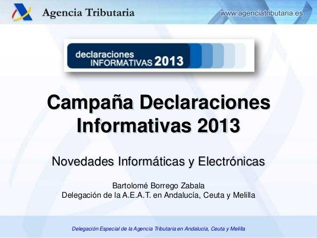 Campaña Declaraciones Informativas 2013 Novedades Informáticas y Electrónicas Bartolomé Borrego Zabala Delegación de la A....