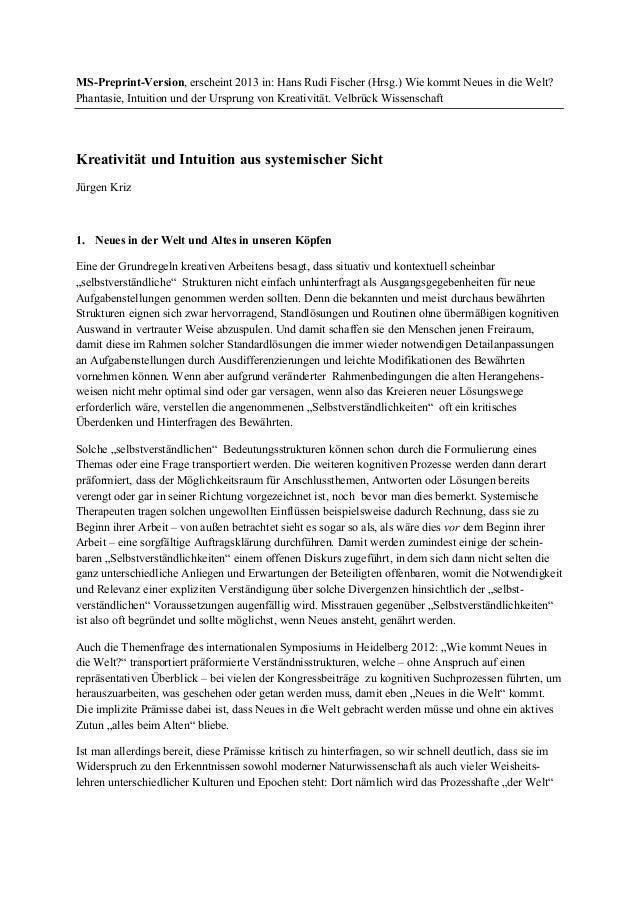MS-Preprint-Version, erscheint 2013 in: Hans Rudi Fischer (Hrsg.) Wie kommt Neues in die Welt? Phantasie, Intuition und de...
