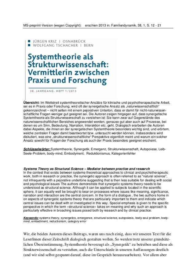 MS-preprint-Version (wegen Copyright): erschien 2013 in: Familiendynamik, 38, 1, S. 12 - 21 Übersicht: Im Wettstreit syste...