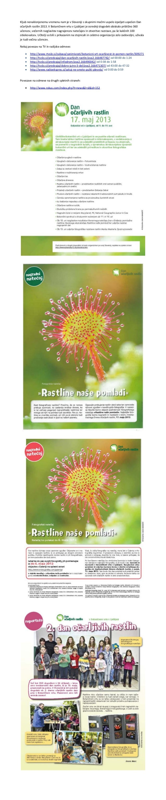 Slovenia 'Fascination of Plants Day' 2013