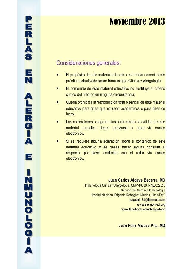 Perlas en Alergia e Inmunología, Noviembre 2013