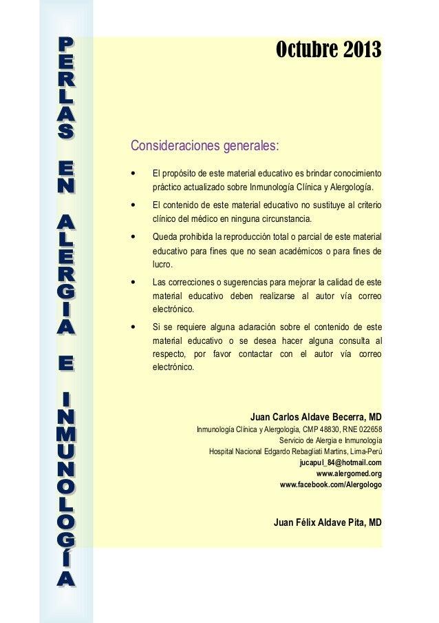 Octubre 2013  Consideraciones generales: •  El propósito de este material educativo es brindar conocimiento práctico actua...