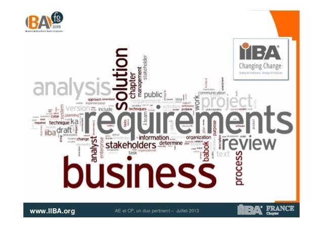 www.IIBA.org AE et CP, un duo pertinent – Juillet 2013
