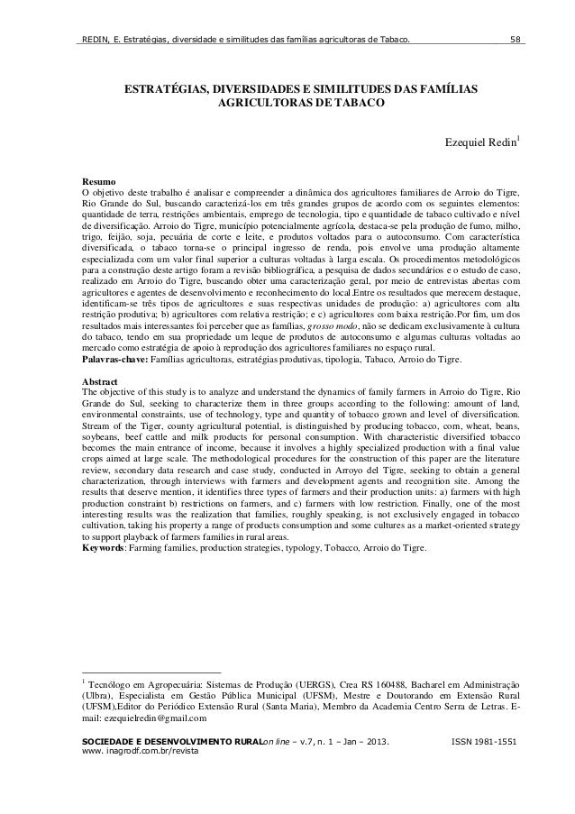 REDIN, E. Estratégias, diversidade e similitudes das famílias agricultoras de Tabaco.SOCIEDADE E DESENVOLVIMENTO RURALon l...