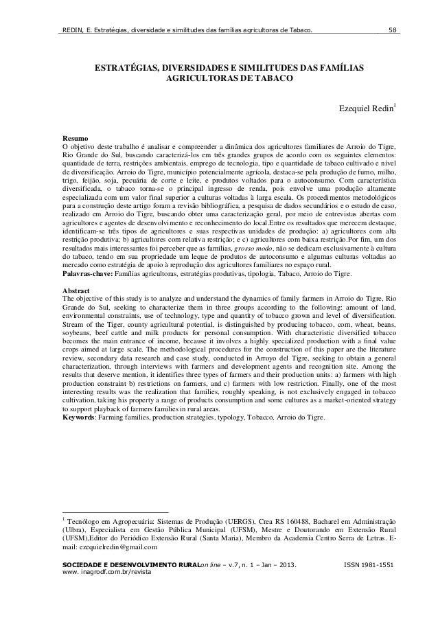 2013 - Redin  - estratégias, diversidades e similitures das famílias agricultoras de tabaco