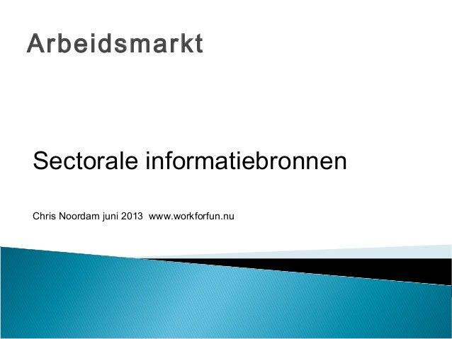 ArbeidsmarktSectorale informatiebronnenChris Noordam juni 2013 www.workforfun.nu