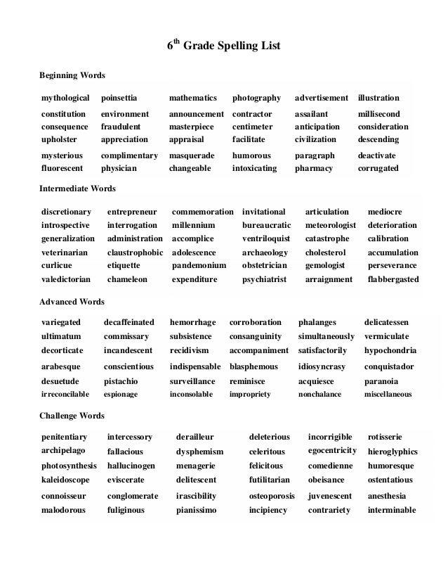 6th Grade Worksheets Spelling Words : Hard spelling bee words for th graders