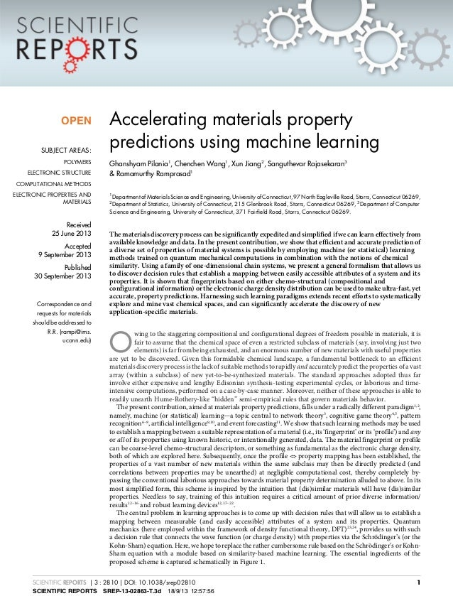 Accelerating materials property predictions using machine learning