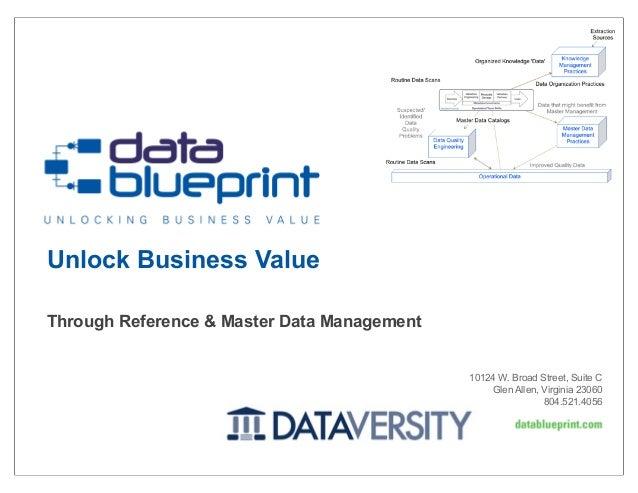 Unlock Business Value Through Reference & Master Data Management  10124 W. Broad Street, Suite C Glen Allen, Virginia 2306...
