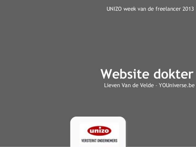 Website dokterUNIZO week van de freelancer 2013Lieven Van de Velde – YOUniverse.be