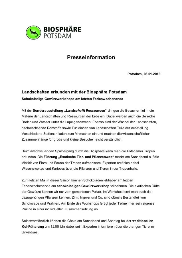 Presseinformation                                                                    Potsdam, 03.01.2013Landschaften erkun...
