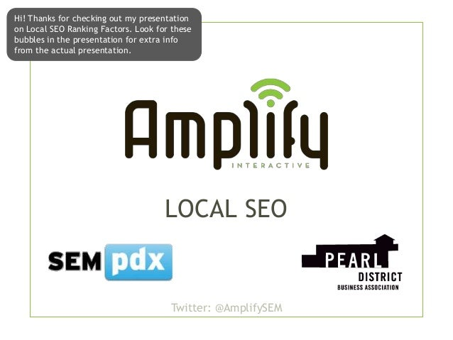 Local SEO - Pearl District Business Association - Jan 2013