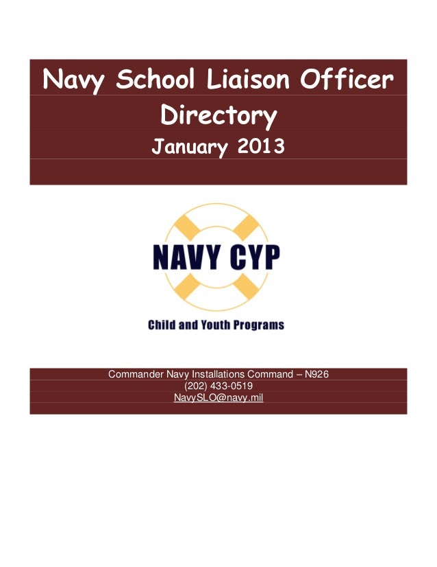 Navy School Liaison Officer        Directory             January 2013        hild Child &          irectory contact:     C...
