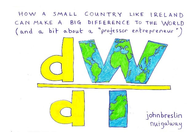 "dW/dI: How a small country like Ireland can make a big difference to the world (and a bit about a ""professor entrepreneur"")"
