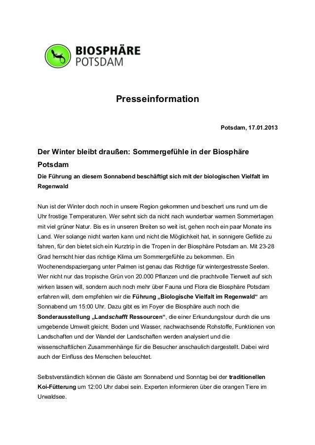 Presseinformation                                                                        Potsdam, 17.01.2013Der Winter ble...