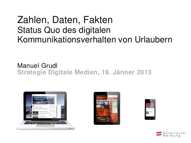 Zahlen, Daten, FaktenStatus Quo des digitalenKommunikationsverhalten von UrlaubernManuel GrudlStrategie Digitale Medien, 1...