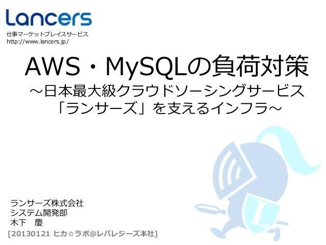 仕事マーケットプレイスサービスhttp://www.lancers.jp/    AWS・MySQLの負荷対策      ~日本最大級クラウドソーシングサービス       「ランサーズ」を支えるインフラ~ ランサーズ株式会社 システム開発部 ...