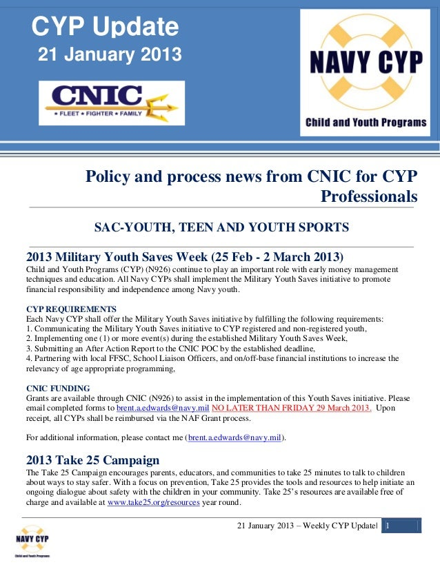 CYP Update   21 January 2013                 Policy and process news from CNIC for CYP                                    ...