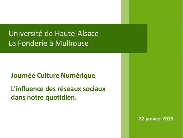 Université de Haute-AlsaceLa Fonderie à MulhouseJournée Culture NumériqueL'influence des réseaux sociauxdans notre quotidi...
