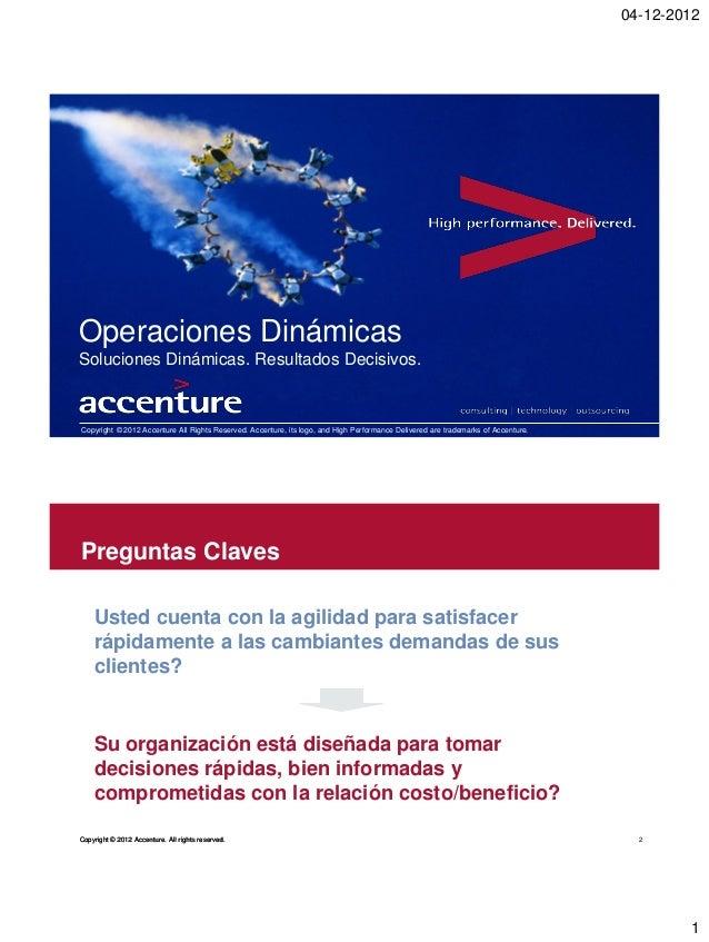 04-12-2012Operaciones DinámicasSoluciones Dinámicas. Resultados Decisivos.Copyright © 2012 Accenture All Rights Reserved. ...