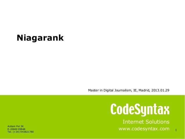 Niagarank, presentation IE Master in Digital Journalism