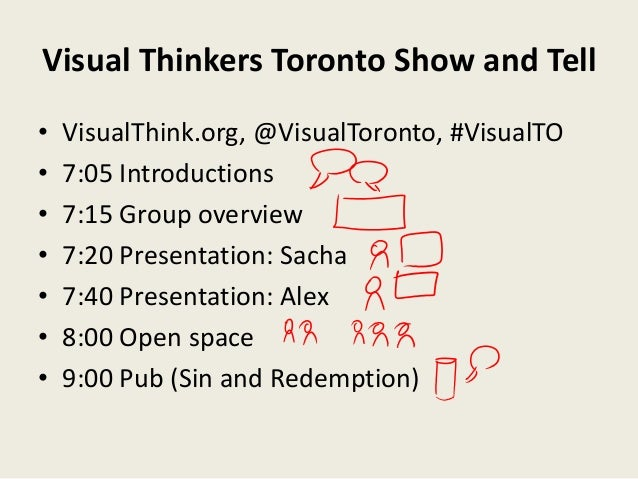 Visual Thinkers Toronto Show and Tell•   VisualThink.org, @VisualToronto, #VisualTO•   7:05 Introductions•   7:15 Group ov...