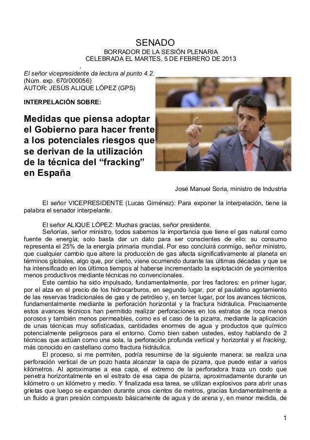 Intervención del Ministro Soria en el Senado