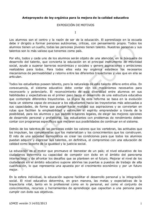 Anteproyecto de ley orgánica para la mejora de la calidad educativa                                  EXPOSICIÓN DE MOTIVOS...