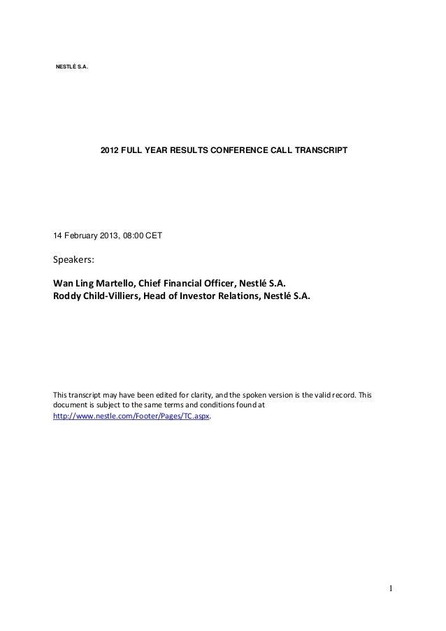 2013 02 14   fyr 2012 conf call transcript