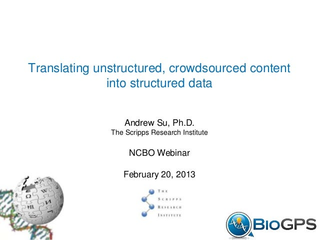 Translating unstructured, crowdsourced content              into structured data                  Andrew Su, Ph.D.        ...