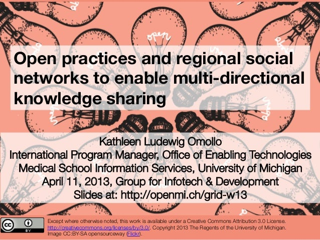 Open practices and regional socialnetworks to enable multi-directionalknowledge sharing                   Kathleen Ludewig...