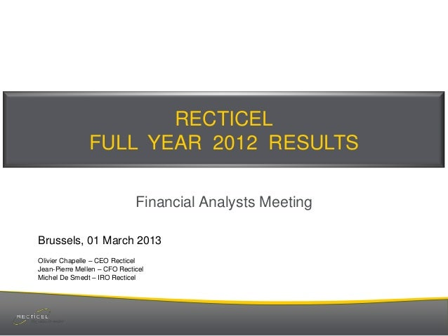 RECTICEL FULL YEAR 2012 RESULTS Financial Analysts Meeting Brussels, 01 March 2013 Olivier Chapelle – CEO Recticel Jean-Pi...